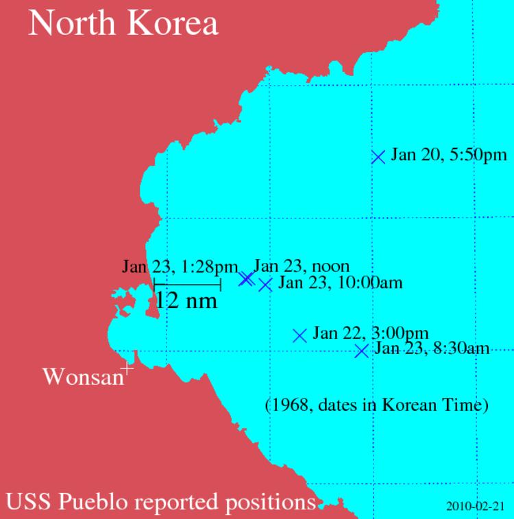 USS Pueblo positions