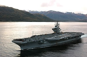 USS Ronald Reagan traveling through the Strait...