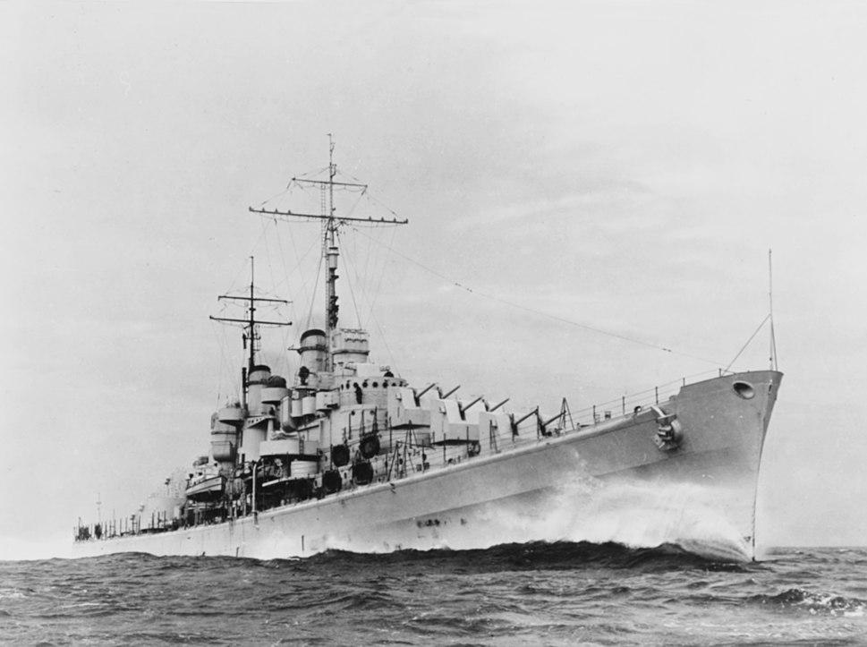 USS Atlanta (CL-51) steaming at high speed, circa in November 1941 (NH 57455)