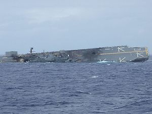 USS Belleau Wood (LHA-3) - Ex-Belleau Wood rolls over and sinks following her use as a live fire target in the 2006 RIMPAC exercises
