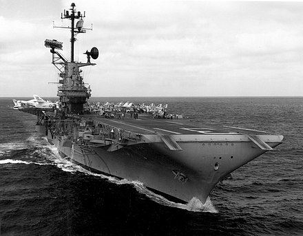Congress authorizes defense spending such as the purchase of the USS Bon Homme Richard (CV-31). USS Bon Homme Richard (CVA-31) underway in the Gulf of Tonkin on 2 November 1964.jpg