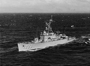 USS Claud Jones (DE-1033) underway off the coast of Oahu on 22 February 1971 (NH 107506).jpg