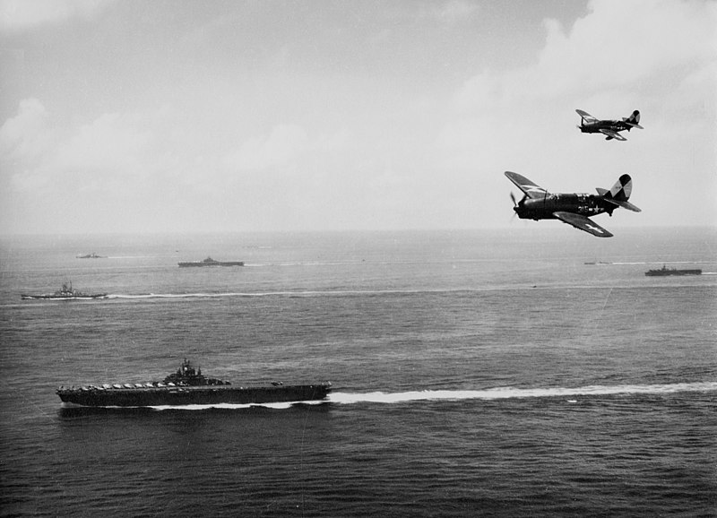 File:USS Essex (CV-9) with TG 38 3 off Okinawa 1945.jpeg