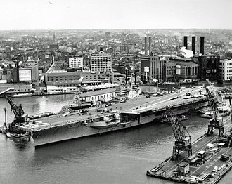USS Saratoga (CV-60) - Saratoga in the Brooklyn Navy Yard in May 1956, one month after her commissioning