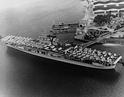 USS Yorktown (CV-5) embarking aircraft at Naval Air Station North Island, in June 1940 (80-G-651042)