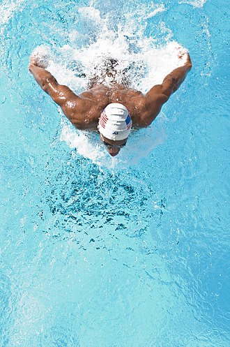 Butterfly stroke - Overhead shot of a swimmer performing the butterfly stroke