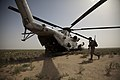 US Marines from Regimental Combat Team 1 board a CH-53D Sea Stallion helicopter in Helmand Afghanistan.jpg