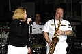 US Navy 040625-N-2115M-205 Musician 3rd Class Ellysia Flores, left, and Musician 2nd Class Andy Rochelle, both assigned to Navy Band Northwest, perform a variety of music aboard the fast combat support ship USS Sacramento (AOE.jpg