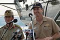 US Navy 050607-N-6832D-040 Commander U.S. 7th Fleet, Vice Adm. Jonathan W. Greenert and Commander 1st Division, Deployable Joint Force Headquarters, Maj. Gen. Mark Kelly greet the local media.jpg