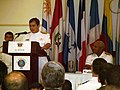 US Navy 050805-N-0696F-001 Panamanian National Maritime Services Director Adm. Richard Traad welcomed joint forces personnel during the opening ceremony for PANAMAX 2005 at Hotel El Panama.jpg