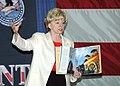 US Navy 060510-N-7047S-038 Vice President Dick Cheney's wife Lynne, talks to USS George Washington (CVN 73) Sailor's children in the hangar bay.jpg