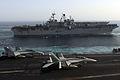 US Navy 070522-N-2659P-266 Nuclear-powered aircraft carrier USS Nimitz (CVN 68) and amphibious assault ship USS Bonhomme Richard (LHD 6) transit alongside Nimitz-class aircraft carrier USS John C. Stennis (CVN 74) in the Gulf o.jpg