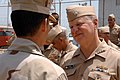 US Navy 080812-N-8273J-219 Chief of Naval Operations (CNO) Adm. Gary Roughead speaks to Sailors while receiving a tour of Bahrain Port Facility.jpg