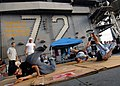 US Navy 080822-N-9079D-083 Sailors break dance on the flight deck during a steel beach picnic aboard the Nimitz-class aircraft carrier USS Abraham Lincoln (CVN 72).jpg