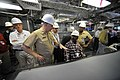 US Navy 090331-N-8273J-027 Chief of Naval Operations (CNO) Adm. Gary Roughead tours the bridge of the litoral combat ship USS Independence (LCS 2) at the Austal, USA shipyard in Mobile, Ala.jpg