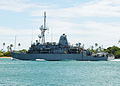 US Navy 100729-N-0641S-045 The Avenger-class mine countermeasure ship USS Pioneer (MCM 9) departs Joint Base Pearl Harbor-Hickam after participating in Rim of the Pacific (RIMPAC) 2010 exercises.jpg