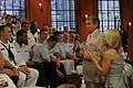 US Navy 110525-N-VK779-029 Television show hosts, Regis Philbin and Kelly Ripa interact with Sailors, Marines, and Coast Guardsmen during a taping.jpg