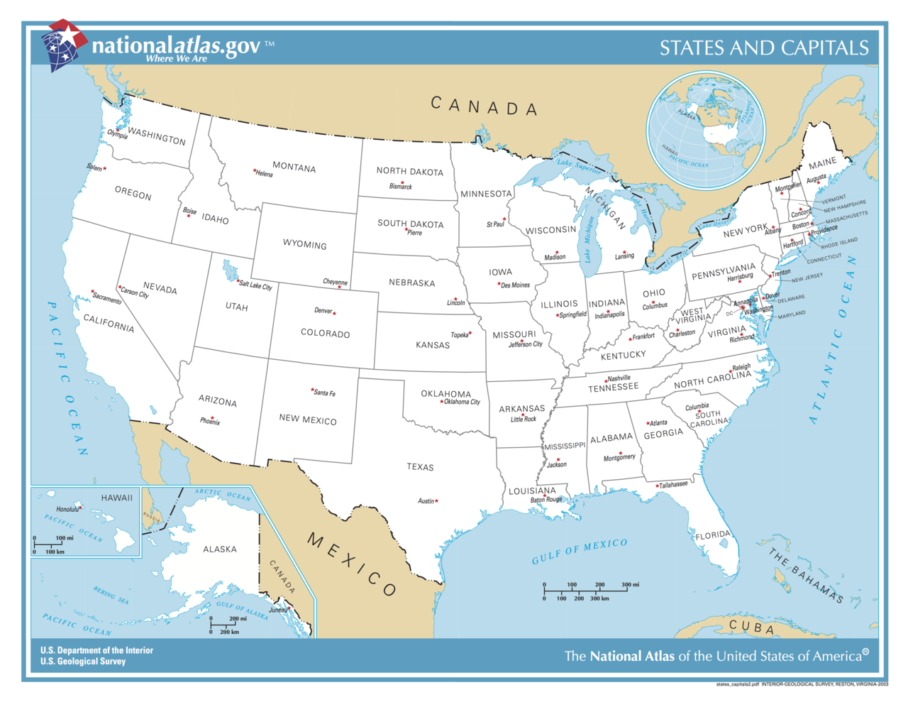 Maps Of The United States USA State Capitals And Major Cities Map - Map of us states and large cities