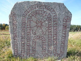 Hakon Jarl runestones - The runestone U 617 near the church of Bro.