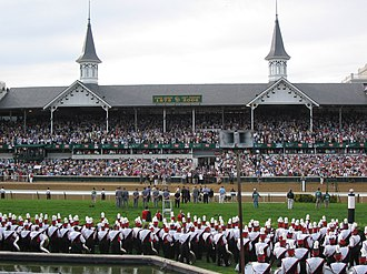 Churchill Downs - Churchill Downs—with the University of Louisville Marching Band in the foreground—during the 2006 Kentucky Derby.