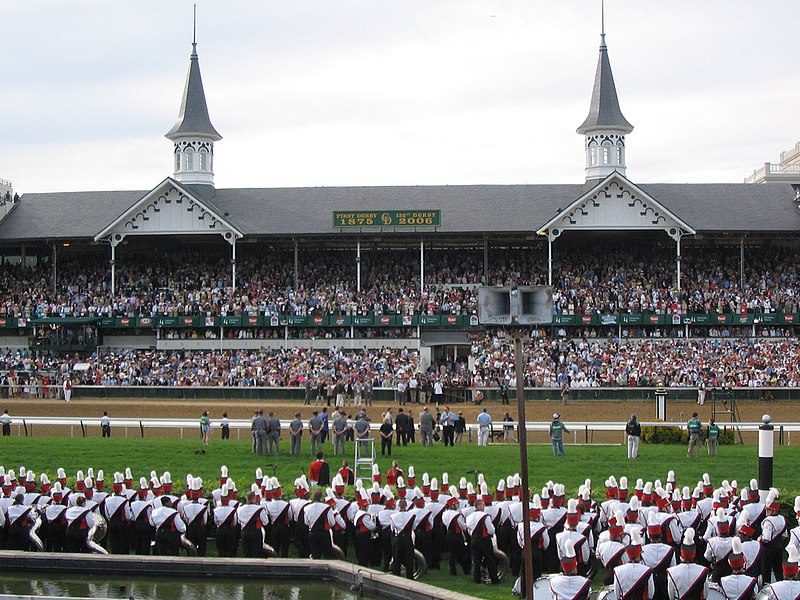 File:University of Louisville marching band, Churchill Downs Twin Spires.jpg
