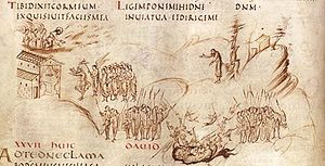 Psalter - Folio 15b of the Utrecht Psalter illustrates Psalm 27