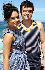 Josh Hutcherson and Vanessa Hudgens on a boat in summer clothes