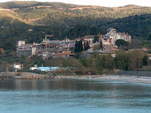 View of the Vatopedi monastery in Mount Athos ...