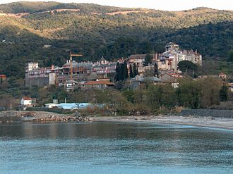 View of Vatopedi monastery from the nearby beach.