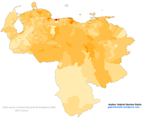 Venezuela 2011 Black and Afrodescendant population proportion map.png