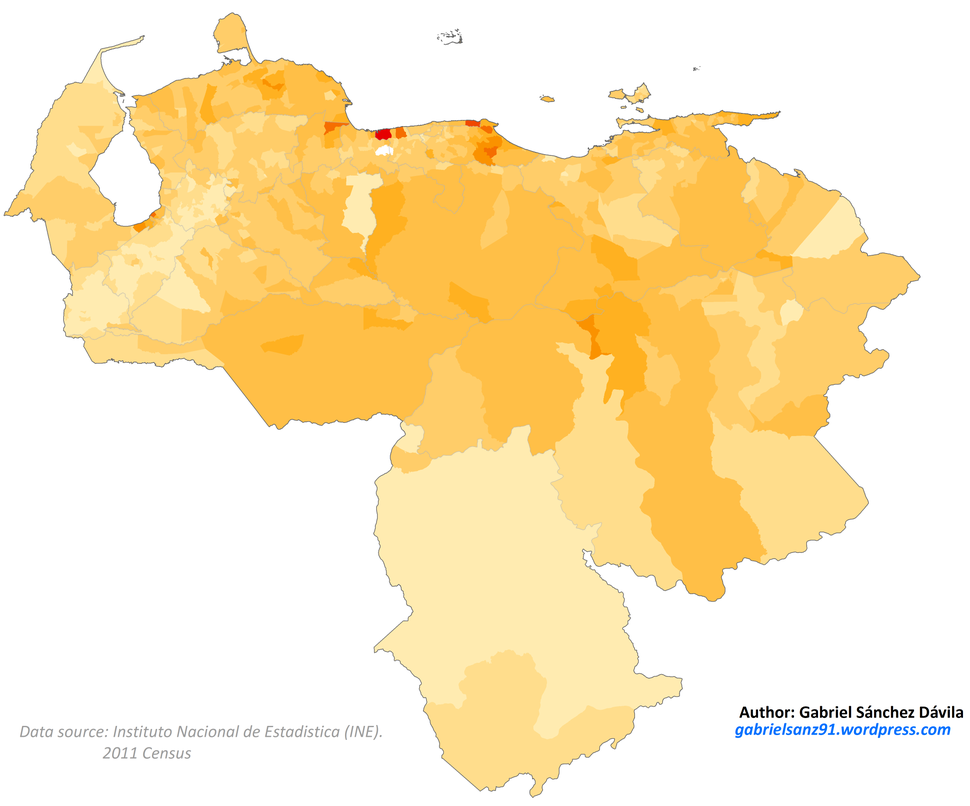 Venezuela 2011 Black and Afrodescendant population proportion map