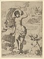 Venus stepping out of the sea, holding a billowing drapery in her left hand, Cupid at right offering pearls while riding a dolphin and a putto at left offering flowers, another in the clouds MET DP837923.jpg