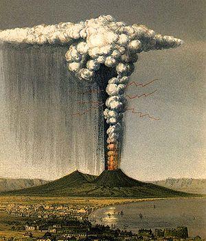 1822 artist rendition of the eruption of Vesuv...