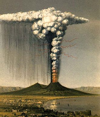 Plinian eruption - 1822 artist's impression of the eruption of Mount Vesuvius in 79, depicting what the AD 79 eruption may have looked like, by the English geologist George Julius Poulett Scrope. Lightning is depicted around the rising column of ash and gas.
