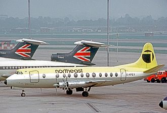 Northeast Airlines (UK) - Northeast Airlines Vickers Viscount 806 at London Heathrow Airport in 1971.