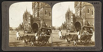 Chhatrapati Shivaji Terminus railway station - A 1903 stereographic image of the Victoria Terminus, Bombay which was completed in 1888.