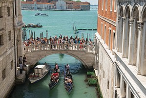 View from the Bridge of Sighs (Ponte dei Sospiri), Venice Italy