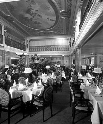 RMS Aquitania - View of the First Class Dining Saloon.