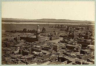 Edfu - Village d'Edfou, vue prise du Pylone du Temple