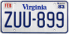 Virginia license plate, 1979–1992 series with February 1983 sticker.png