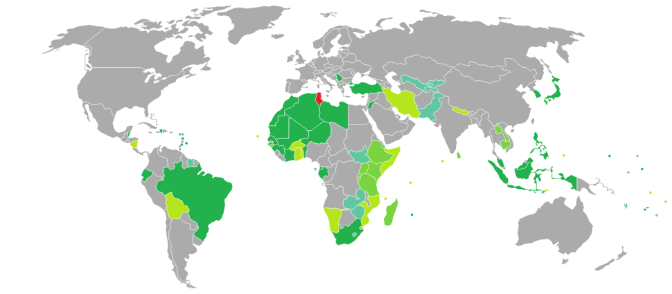 Visa requirements for Tunisian citizens