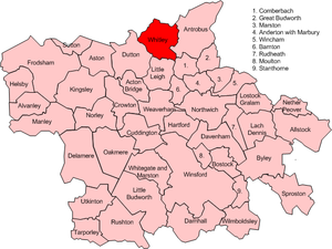 Whitley, Cheshire - Map of civil parish of Whitley within the former borough of Vale Royal