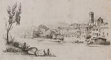 Orta San Giulio in un disegno del generale Belga Charles Rouen (ca 1868)