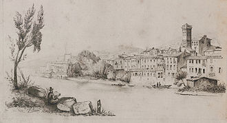 Orta San Giulio - Orta San Giulio, drawing by general Charles Rouen, about 1868