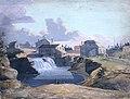Vue du moulin et de la taverne de Philemon Wright aux chutes des Chaudières, à Hull, sur la rivière des Outaouais, dans le Bas-Canada, 1823.jpg