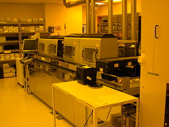 Photolithography - The wafer track portion of an aligner that uses 365 nm ultraviolet light