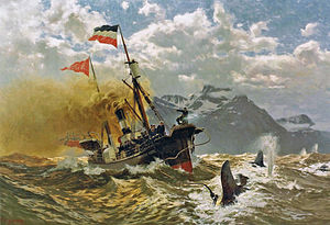 In rough gray seas, the white and black whaling steamer Duncan Grey, stack spewing orange smoke obscuring the rear mast, crests a swell, pursuing a freshly harpooned and bloody whale, as the bow spotter signals the running whale's direction, against a backdrop of mountains and partially cloudy skies.