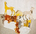 Wall painting of two quadrupeds in landscape from Akrotiri - Thera MPT.jpg