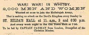 """Elijah Cadman - 'Captain' Cadman's """"War in Whitby"""" poster of 1878"""