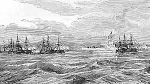 Battle of Thuận An - French warships off the Thuan An forts, 18 August 1883